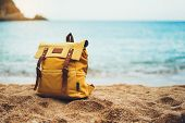 Hipster Hiker Tourist Yellow Backpack Closeup On Background Blue Sea Enjoying Sunset Ocean Horizon,  poster