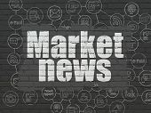 News Concept: Painted White Text Market News On Black Brick Wall Background With Scheme Of Hand Draw poster