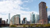 Chicago City Skyline From The Chicago River, With Trump Tower In The Background poster