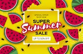 Watermelon Super Summer Sale Banner In Paper Cut Style. Origami Juicy Ripe Watermelon Slices. Health poster