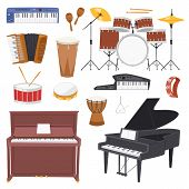 Musical Instruments Vector Music Concert With Piano Or Musicians Synthesizer And Drum Kit Illustrati poster