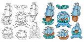 Set Of Sailing Ship. Retro Cargo Ship. Sailing Ship. Sailing Boat Logo. Sea Company Vector Logo Desi poster