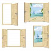 Set Of Door. Open Doors And Beach Landscape With A Sailboat. Realistic Wooden Door. poster