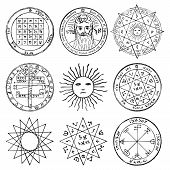 Vector Set Of Occult, Mystic, Spiritual, Esoteric Vector Symbols With Stars, Crosses, Sun And The Fa poster