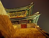 North Gate At Night. Hwaseong Fortress At Night, Suwon, South Korea