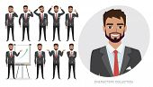 Set Of Emotions And Poses For Business Man. Male In A Cartoon Style Experiences Different Emotions. poster