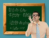 Genius nerd easy found the solution of a mathematical formula in blackboard