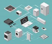 Smart House And Electrical Control Isometric Concept With Domestic Appliances Vector Illustration. C poster