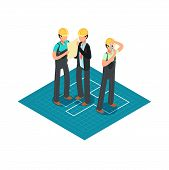 Construction Engineers And Builders In Yellow Safety Helmets. 3d Isometric Architect Vector Concept. poster