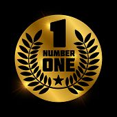 Number One Retro Label On Shiny Golden Circle. Number 1 Label And Badge, Vector Illustration poster