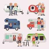 Постер, плакат: Senior Travel Vector Elderly Family Couple Travelling On Camping Trailer And Retired Character On A