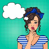 Pop Art Crying Girl. Cry Lady With Tears On Eyes, Sad Face And Open Mouth Retro Vector Illustration poster