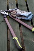 Garden Tools And Garden Gloves On A Wooden Garden Table poster