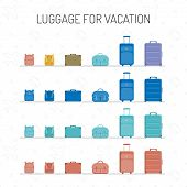 A Set Of Multicolored Luggage For Vacation, Isolated On A White Background. Travel Bags Of Various S poster