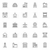 Landmarks And Building Outline Icons Set. Linear Symbols Collection, Line Signs Pack. Vector Graphic poster