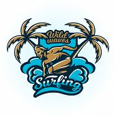 Logo On Surfing. The Emblem Of Male Surfer On The Board. Beach, Waves, Palm Trees, Tropical Island.  poster