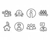 Set Of Business Targeting, Queue And Group Icons. Person, People Talking And Support Service Signs.  poster