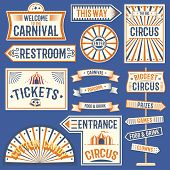 Circus Labels Carnival Show Banner Vintage Label Elements For Circus Design On The Party Theme. Coll poster
