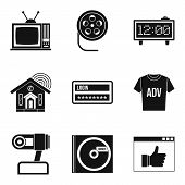 Watching Tv Icons Set. Simple Set Of 9 Watching Tv Vector Icons For Web Isolated On White Background poster