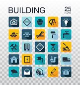 Flat Construction Icons. Web Icons Set - Building, Construction And Home Repair Tools. Flat Style Ve poster