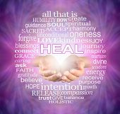 Offering You The Humble Words Of A Healer - Female Cupped Hands Surrounded By A Heal Word Tag Cloud  poster