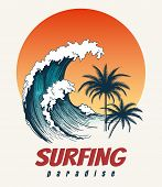 Surfer Big Wave. Ocean Wave Surfing Hawaii Or California Paradise Vector Retro Poster poster