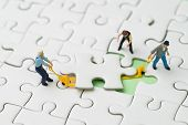 Teamwork, Fulfill The Missing Piece For Business Success Strategy Concept, Miniature Workers Team He poster
