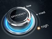 High Efficiency level concept - Efficiency level control button on high position. 3d rendering poster