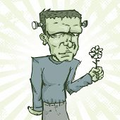 image of frankenstein  - Vector illustration of Frankenstein holding a flower - JPG