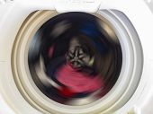 Top View Of A Washing Machine Drum During Spinning Clothes. Top Loading Washing Machine Washes Laund poster