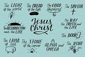 Set Of 11 Hand Lettering Christian Quotes About Jesus Christ. Savior. Door. Good Shepherd. Way, Trut poster