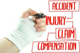 stock photo of personal safety  - Injured hand writing injury claim procedure on screen - JPG