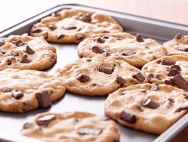 foto of doughy  - finished cookies right out of the oven - JPG