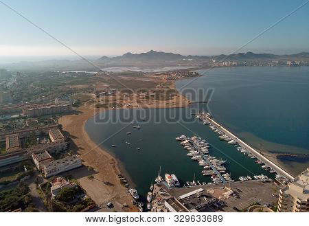 poster of Aerial Panoramic Photography Drone Point Of View La Manga Del Mar Menor Townscape And Seaside Spit O
