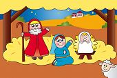 stock photo of christchild  - Nativity scene with Jesus - JPG