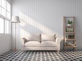 Vintage Style Living Room 3d Render,there Are Black And White Pattern Tile Floor,white Wood Plank Wa poster