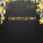 Congratulations Card With Golden Balloons  poster
