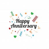 Happy Anniversary Greeting Card Vintage Vector Image poster