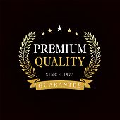 Premium Quality Emblem With Golden Branches And Ribbon. Gold Premium Quality Badge, Rosette With Rib poster