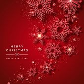 Christmas Background With Shining Red Snowflakes, Balls, Stars And Confetti. Merry Christmas Card Il poster