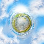 Green tiny planet with ecologic disaster. 360 degrees aerial panorama of stone quarry in rainforest. poster