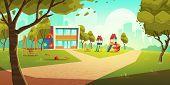 Kindergarten Kids Playground, Empty Area For Children With Nursery School Colorful Building, Green G poster