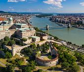 Drone photo of buda castle and danube with chainbridge Budapest, Hungary. poster