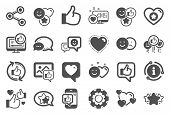 Social Media Icons. Set - Share Network, Social Links And Rating Icons. Heart, Feedback Smile Emotio poster