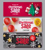 Christmas Sale Vector Banner Set. Christmas Sale Text With Xmas Elements Of Gift, Snowman, Tree, Can poster