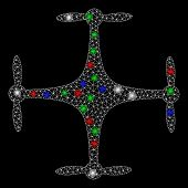 Bright Mesh Copter With Glare Effect. White Wire Carcass Polygonal Mesh In Vector Format On A Black  poster