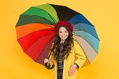 She Wont Get Wet On September 1. Cute Schoolgirl In Autumn Style Hold Umbrella On September 1. Small poster