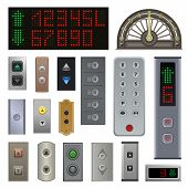 Elevator Buttons Vector Lift Metal Push Button Up Down On Digital Control Panel Numbers In Business  poster