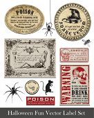 stock photo of arsenic  - Fun Halloween Vintage Style Labels and Icons - JPG