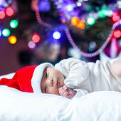 One Week Old Newborn Baby In Santa Hat Near Christmas Tree With Colorful Garland Lights On Backgroun poster